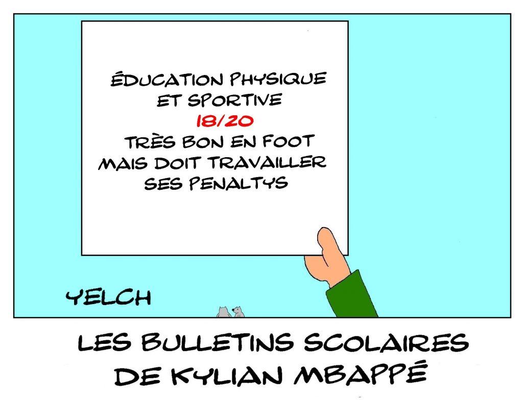 dessins humour Kylian Mbappé image drôle école notes bulletin scolaire éducation physique