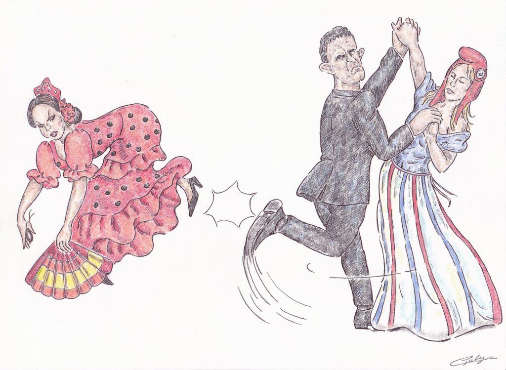 dessin presse humour Manuel Valls image drôle Espagne retour France