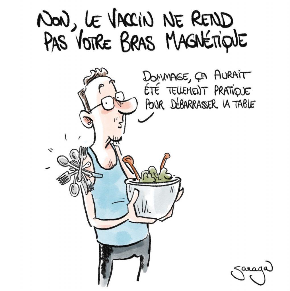 dessin presse humour coronavirus vaccin image drôle bras magnétique