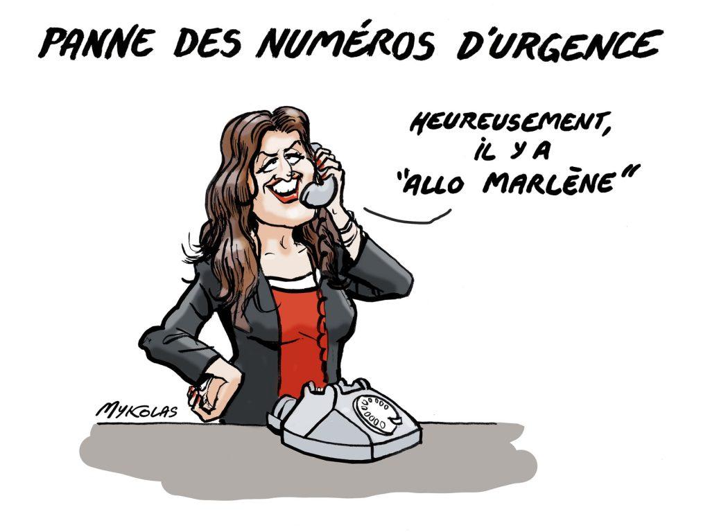 image drôle panne numéro urgence dessins humour Marlène Schiappa