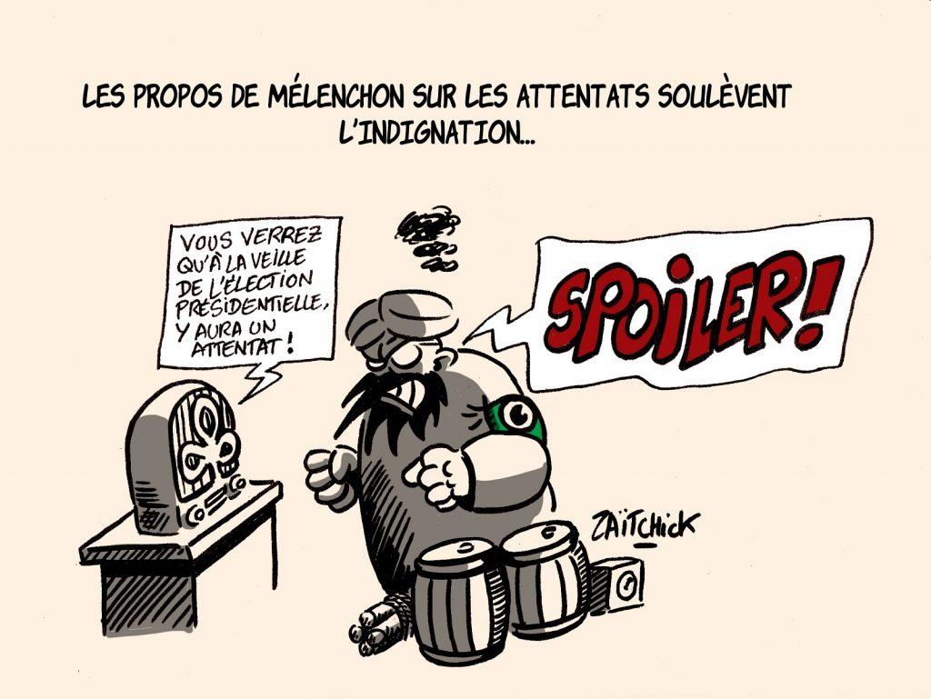 dessins humour Jean-Luc Mélenchon image drôle complotisme attentats présidentielle