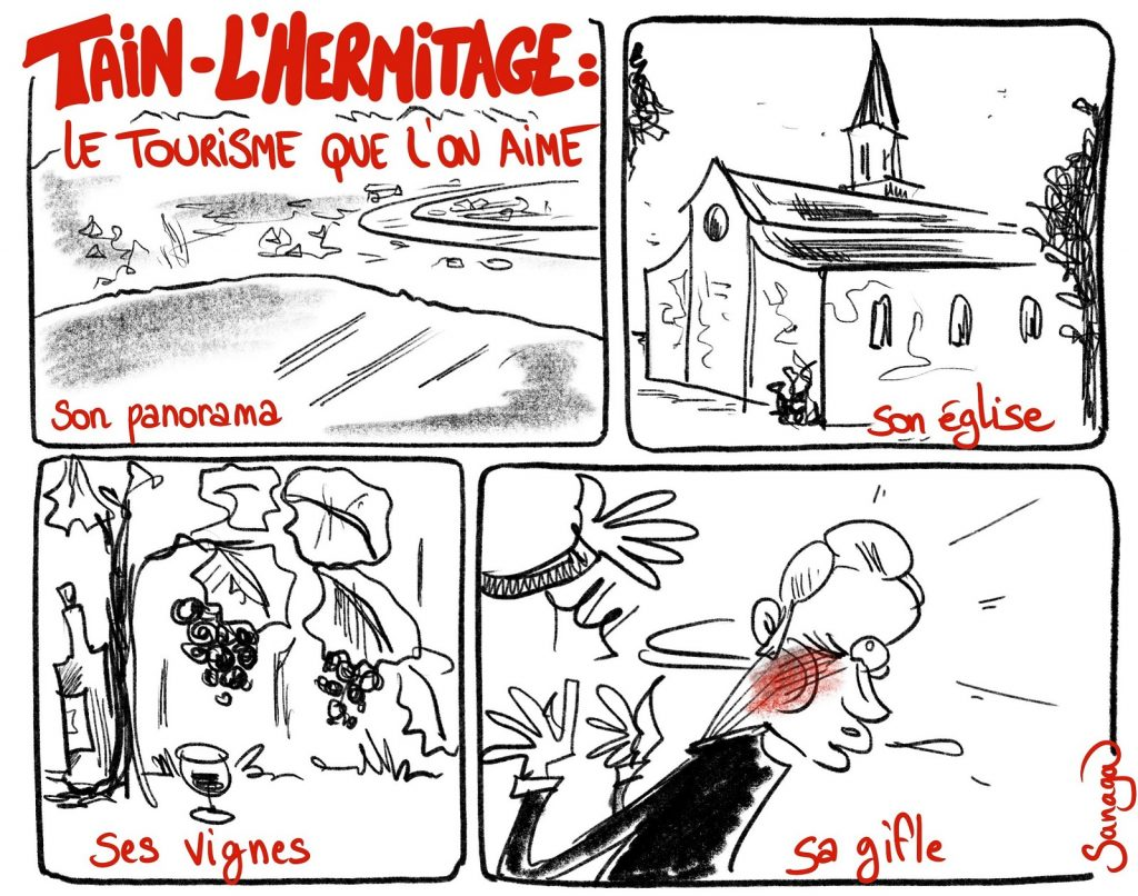 dessin presse humour gifle Emmanuel Macron Tain-l'Hermitage image drôle tourisme