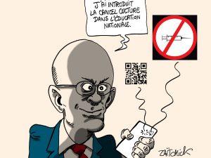 dessins humour vaccination coronavirus Jean-Michel Blanquer image drôle exclusion collégiens lycéen non vaccinés cancel culture