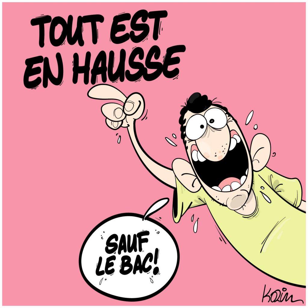 dessin presse humour Algérie hausse augmentation inflation image drôle Baccalauréat