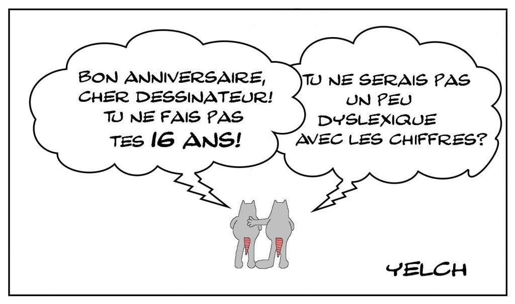 dessins humour bon anniversaire image drôle Yelch 61 ans