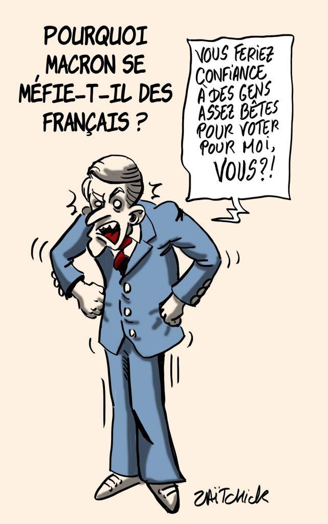 dessins humour Emmanuel Macron image drôle méfiance Français