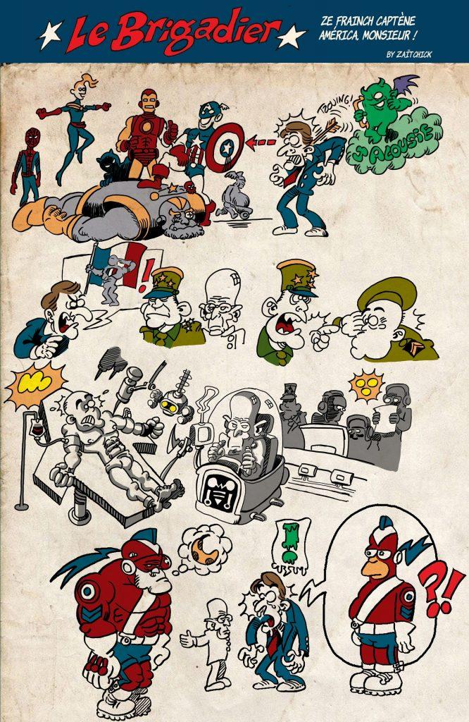 image drôle Le Brigadier Emmanuel Macron dessin humour flic brigadier origines