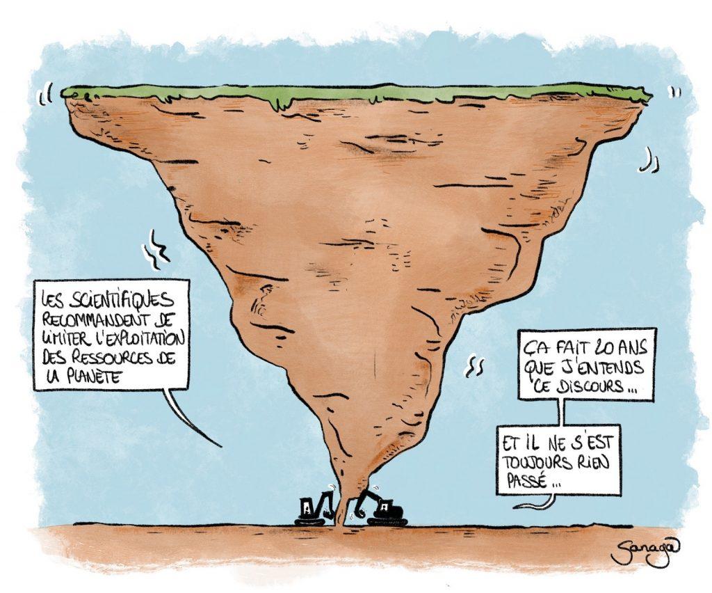dessin presse humour humanité jour du dépassement image drôle exploitation ressources naturelles