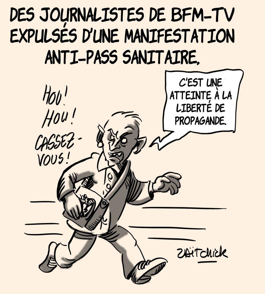 dessins humour coronavirus covid 19 manifestation pass sanitaire image drôle médias BFMTV propagande