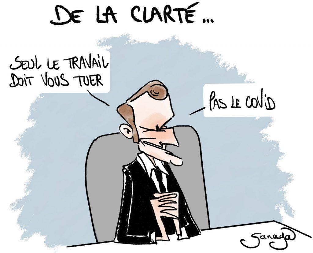 dessin presse humour Emmanuel Macron coronavirus image drôle pass sanitaire travail covid