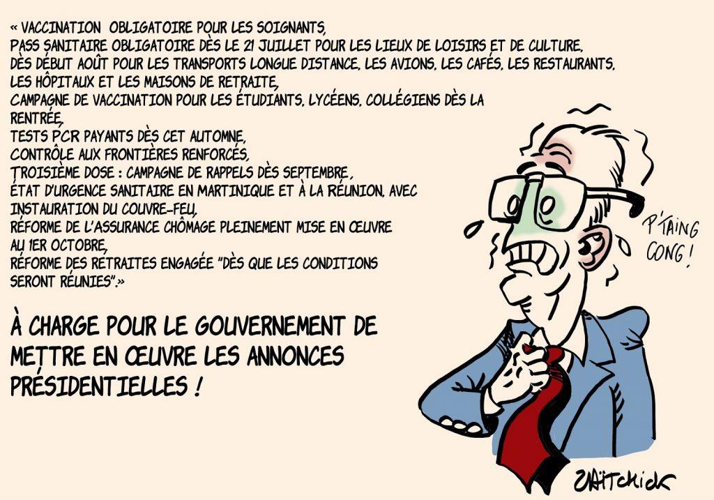 dessins humour pass sanitaire coronavirus covid 19 image drôle annonces présidentielles Emmanuel Macron réformes