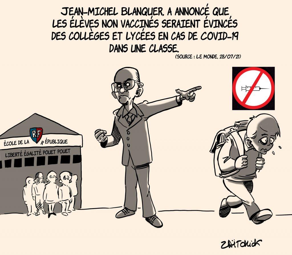 dessins humour vaccination coronavirus Jean-Michel Blanquer image drôle exclusion collégiens lycéen non vaccinés