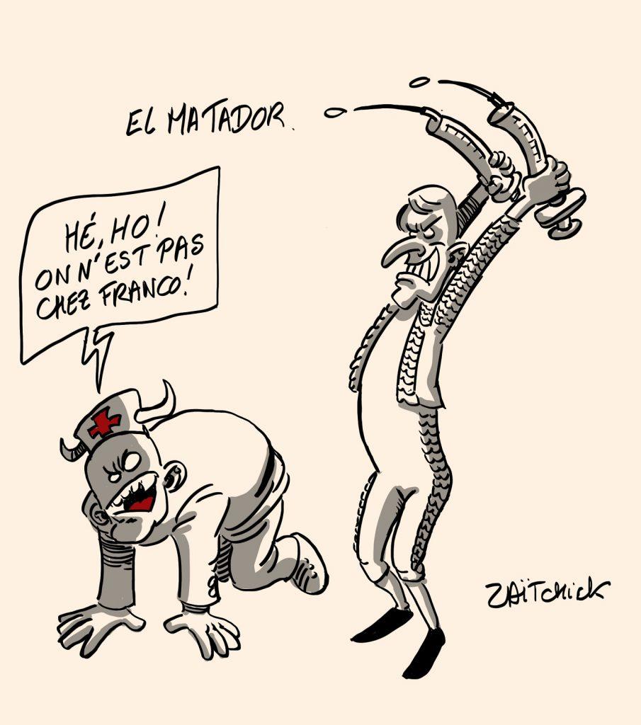 dessins humour coronavirus covid 19 soignants vaccination obligatoire image drôle Emmanuel Macron