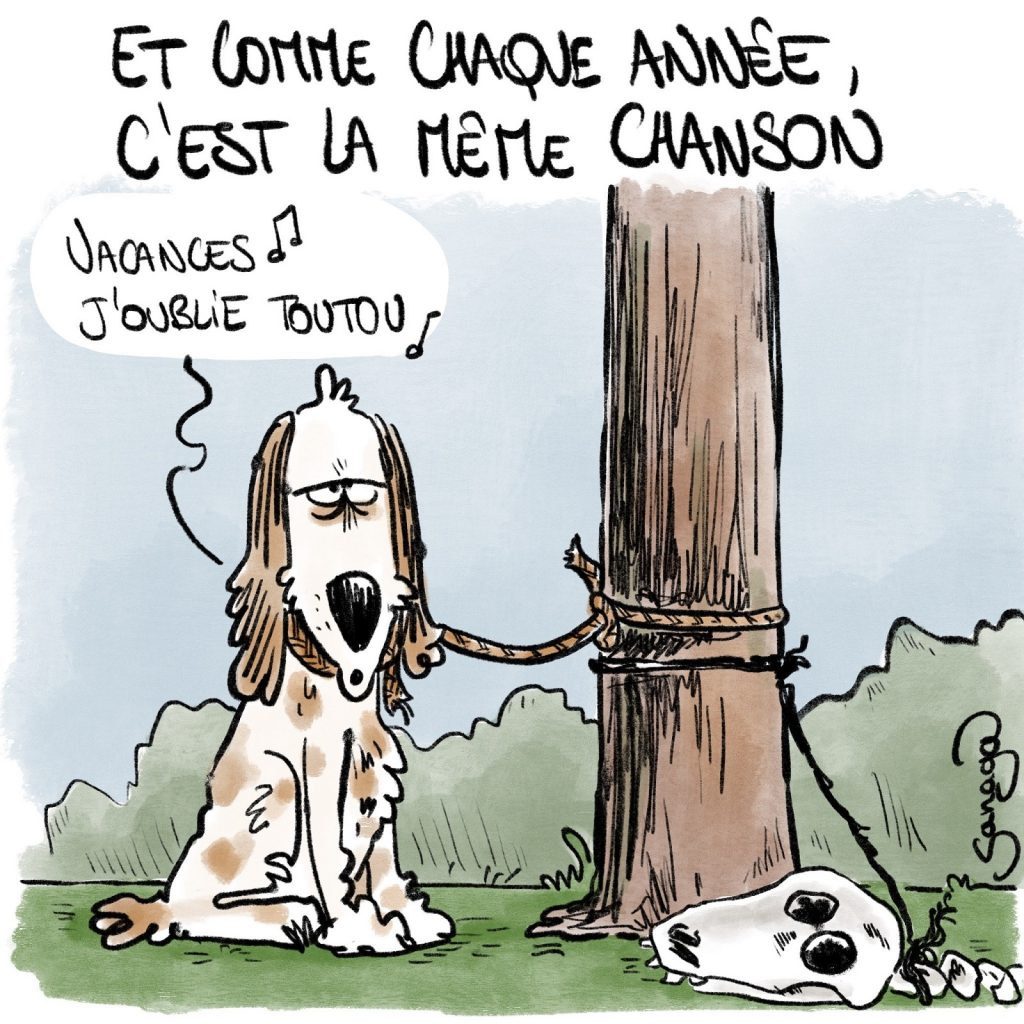 dessin presse humour abandon animaux image drôle vacances toutou