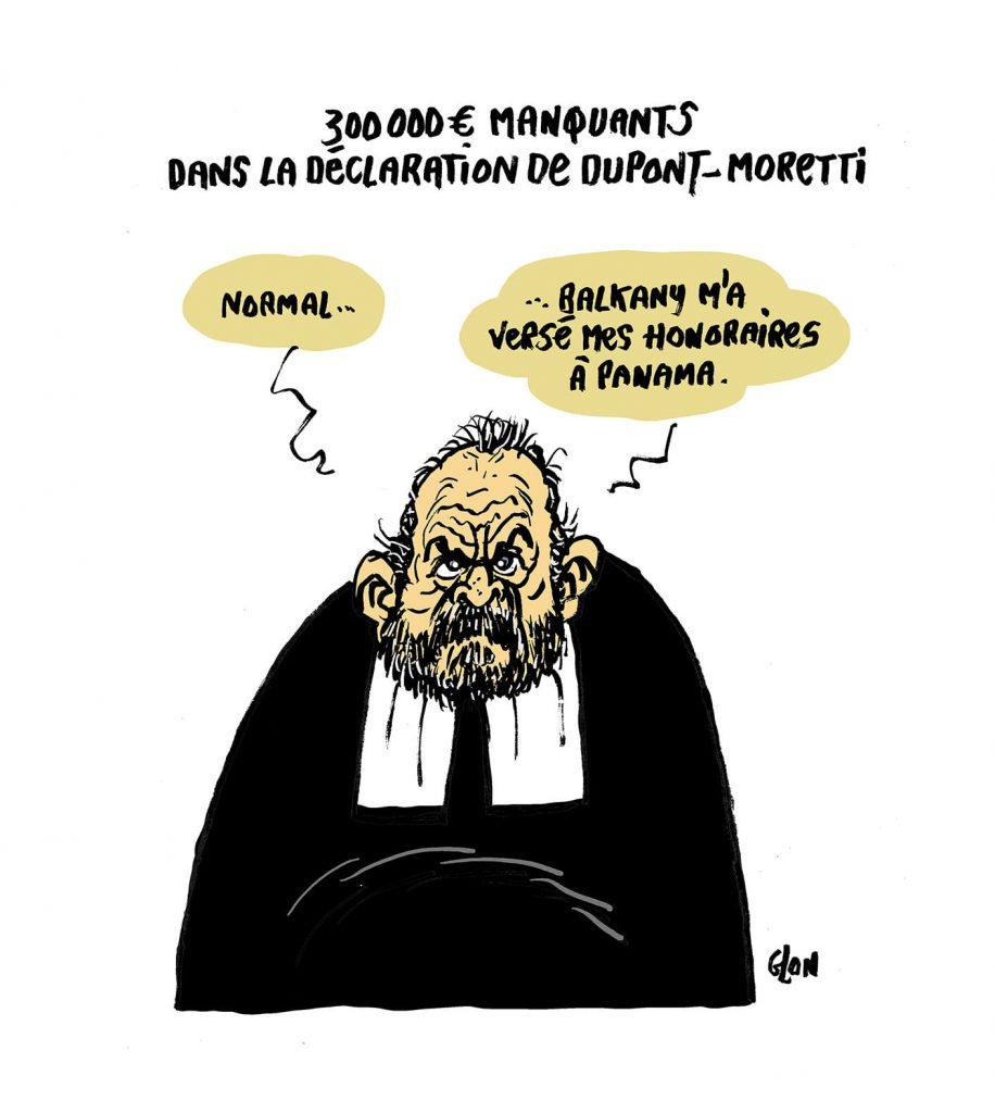 dessin presse humour Éric Dupond-Moretti image drôle oubli déclaration