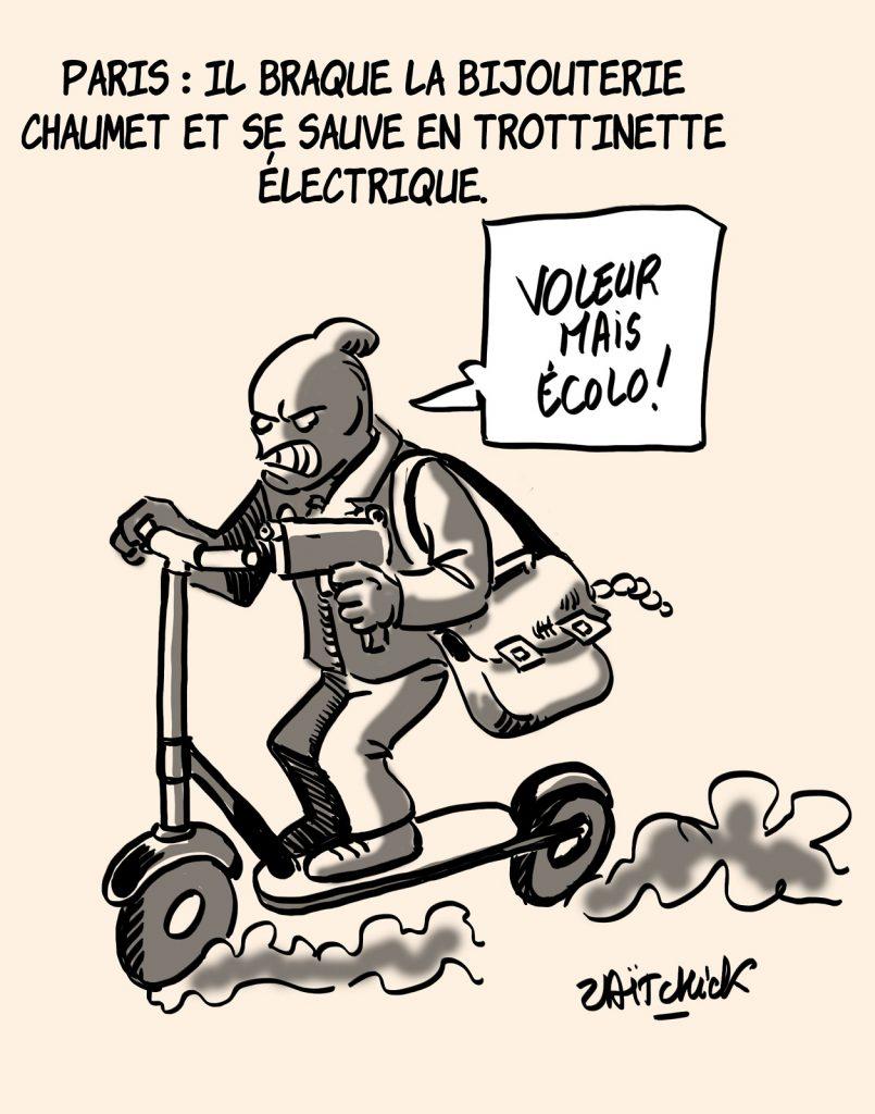 dessins humour Paris braquage bijouterie Chaumet image drôle fuite trottinette électrique