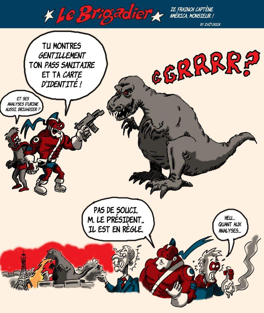image drôle Le Brigadier Emmanuel Macron dessin humour coronavirus pass sanitaire