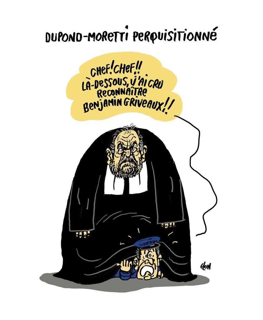 dessin presse humour Éric Dupond-Moretti image drôle perquisition Ministère de la Justice