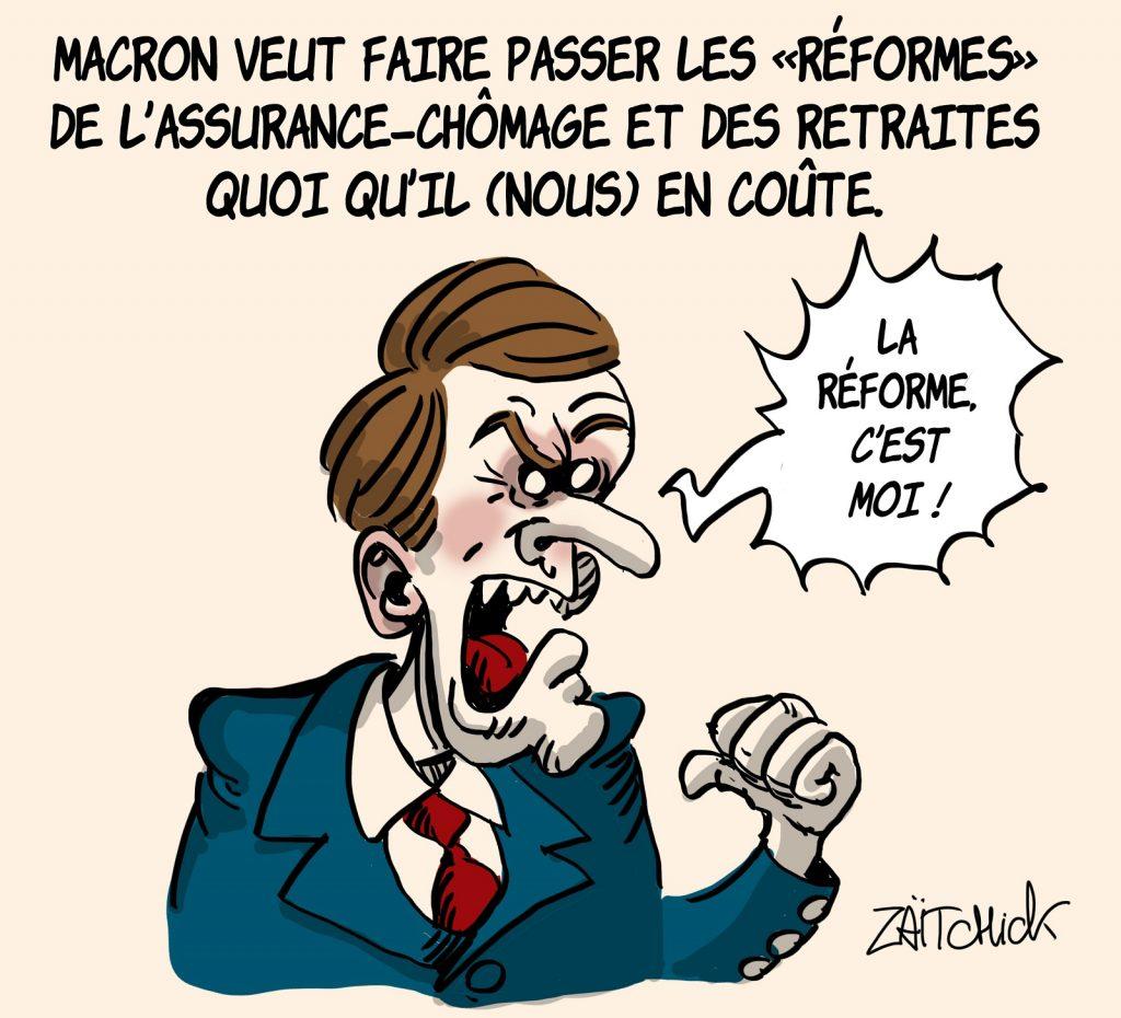 dessins humour Emmanuel Macron réformes image drôle assurance-chômage retraite
