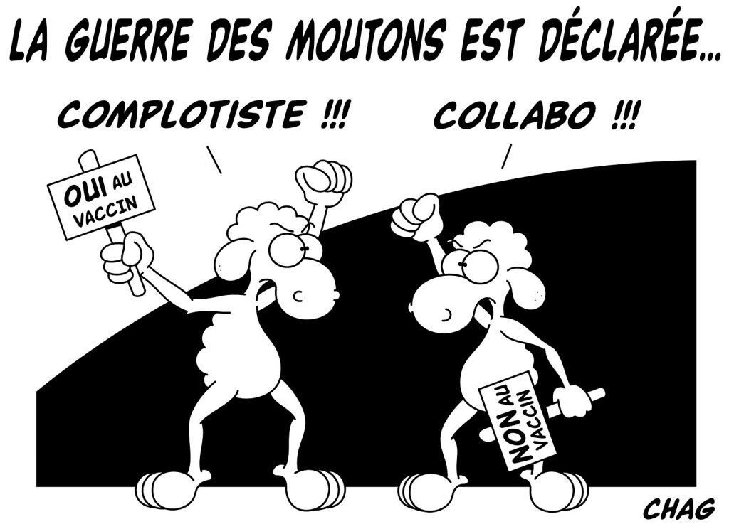 dessin humoristique vaccin coronavirus image drôle guerre mouton antivax provax