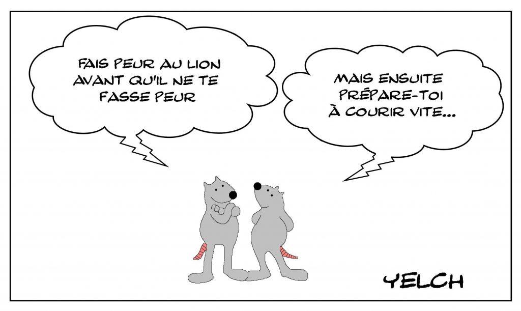 dessins humour citation Omar Ibn Al-Khattäb image drôle peur lion course