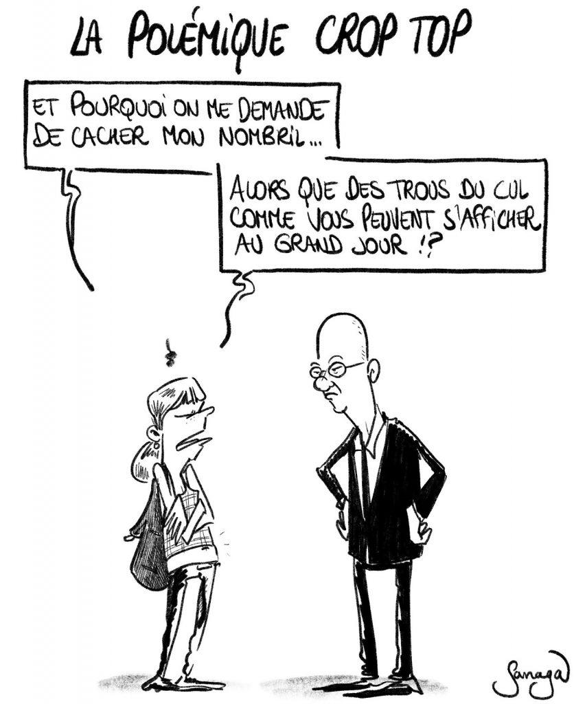 dessin presse humour polémique crop top nombril image drôle trou du cul Jean-Michel Blanquer
