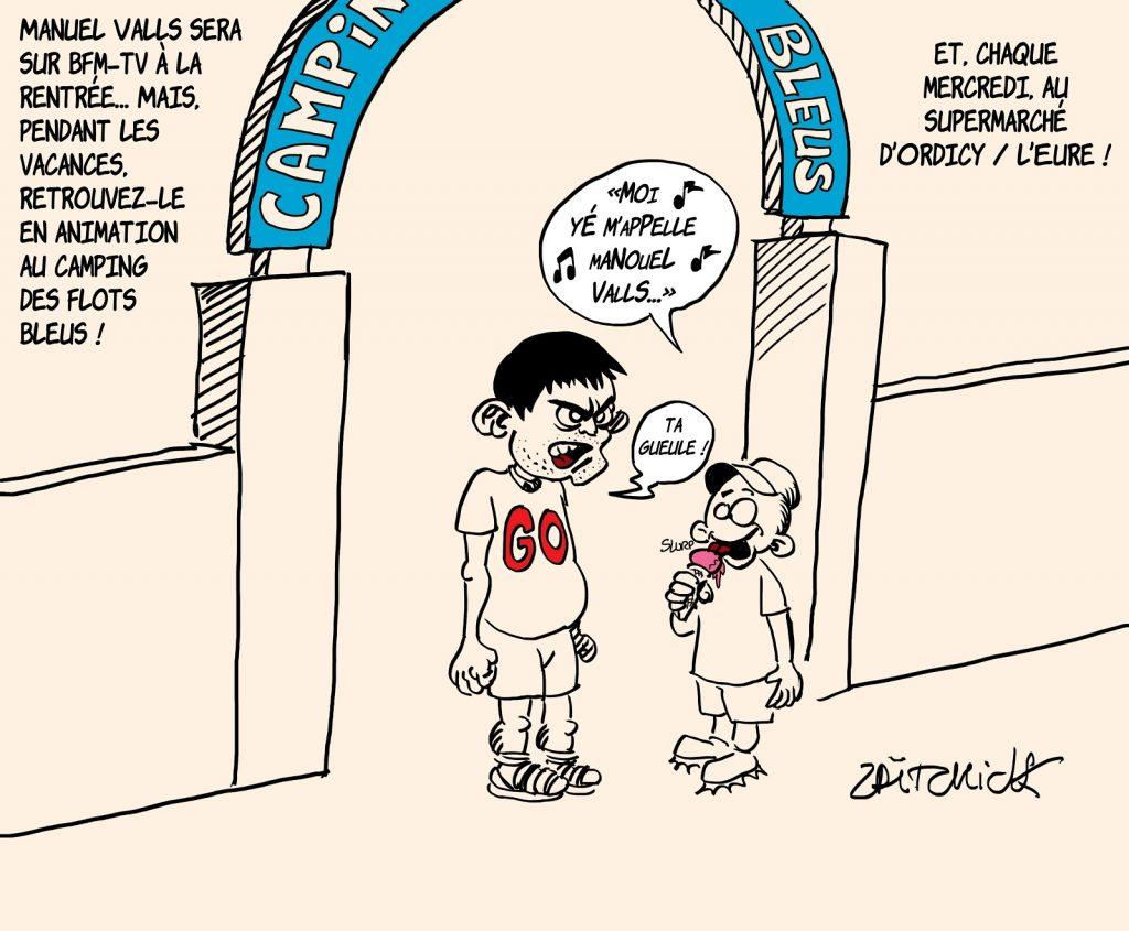 dessins humour retour Manuel Valls image drôle rentrée BFMTV camping flots bleus