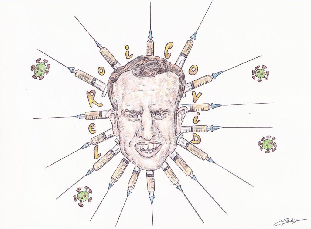 dessin presse humour coronavirus Emmanuel Macron image drôle roi covid pass sanitaire