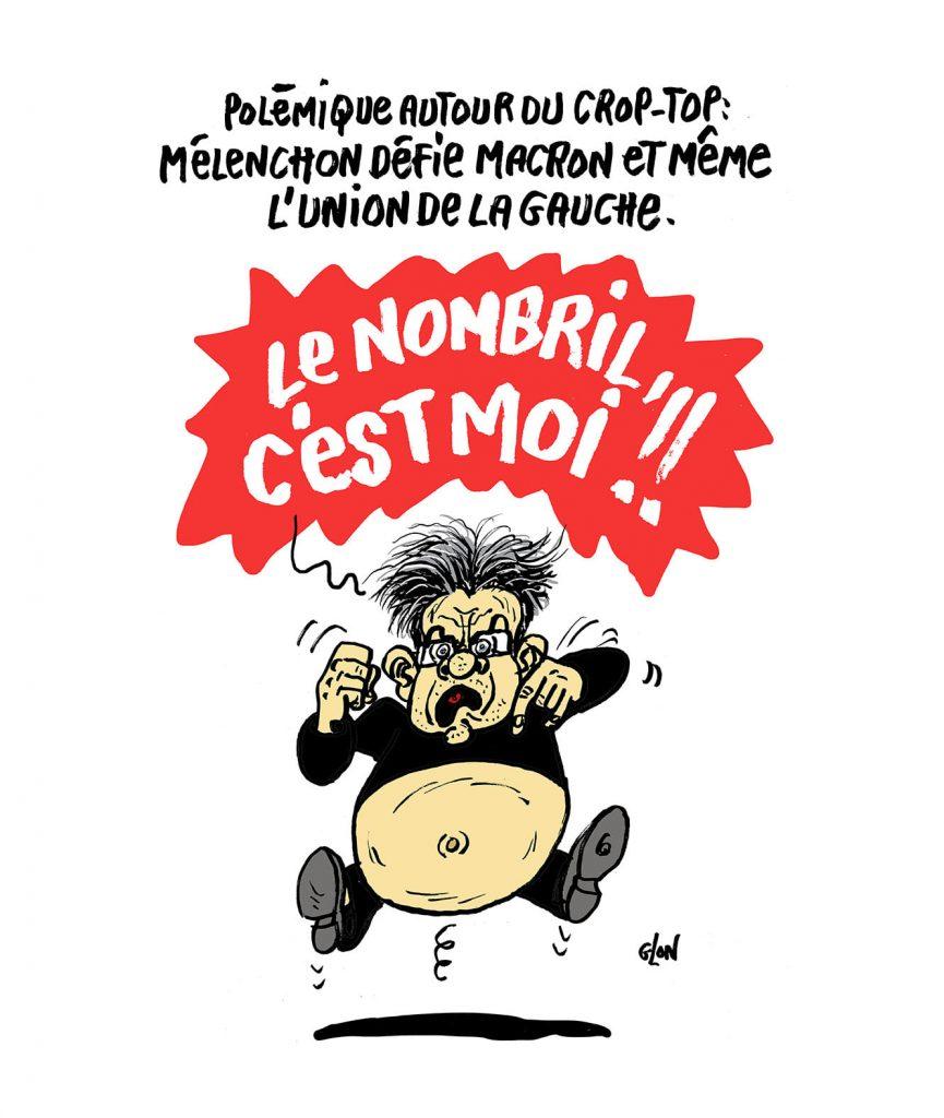 dessin presse humour Jean-Luc Mélenchon image drôle polémique crop-top