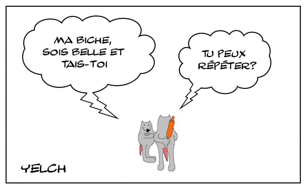 dessins humour couple biche beauté image drôle rouleau à pâtisserie