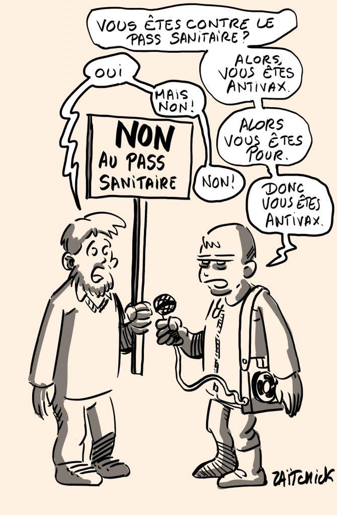 dessins humour coronavirus covid 19 pass sanitaire image drôle journaliste manifestation antivax