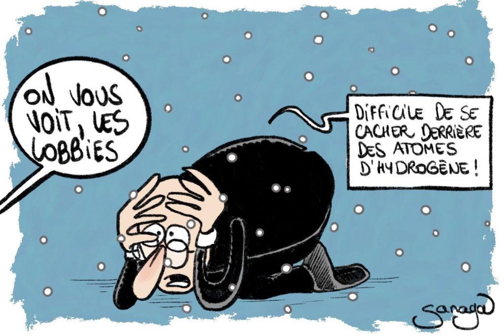 dessin presse humour hydrogène industrie fossile image drôle lobbying subventions européennes