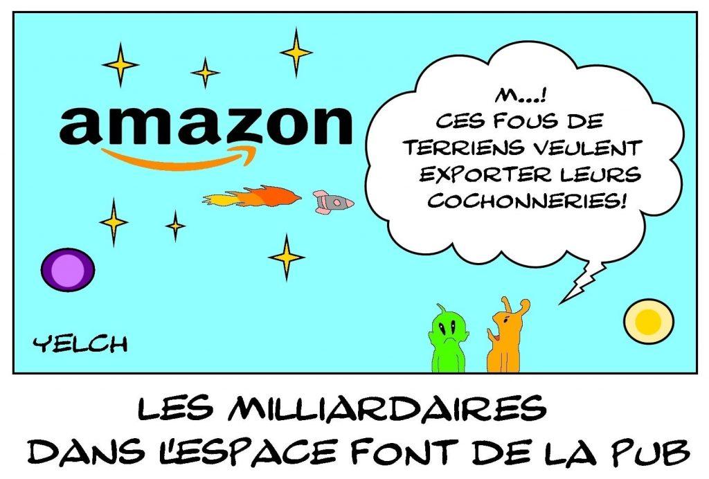 dessins humour milliardaires Amazon publicité image drôle voyage espace