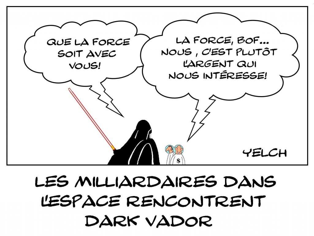 dessins humour tourisme spatial milliardaires image drôle Dark Vador force