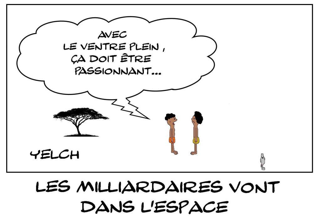 dessins humour milliardaires voyage espace image drôle ventre plein