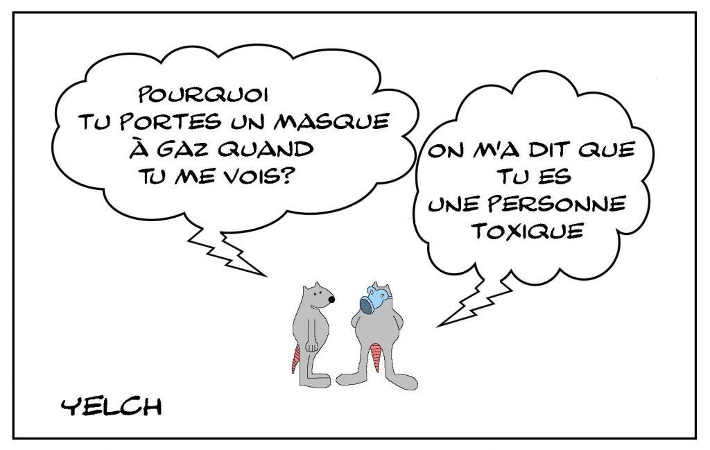 dessins humour personne toxique image drôle masque à gaz