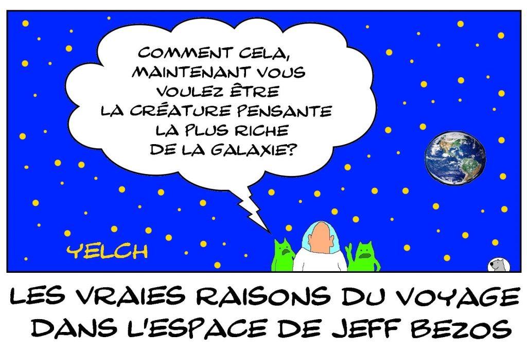 dessins humour Jeff Bezos image drôle raison voyage espace