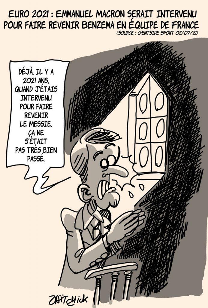dessins humour Emmanuel Macron intervention image drôle Karim Benzema équipe France Euro
