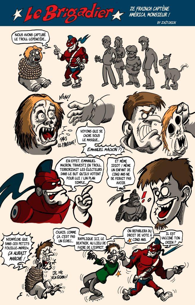 image drôle Le Brigadier Emmanuel Macron dessin humour troll Lepénoïde Scooby-Doo