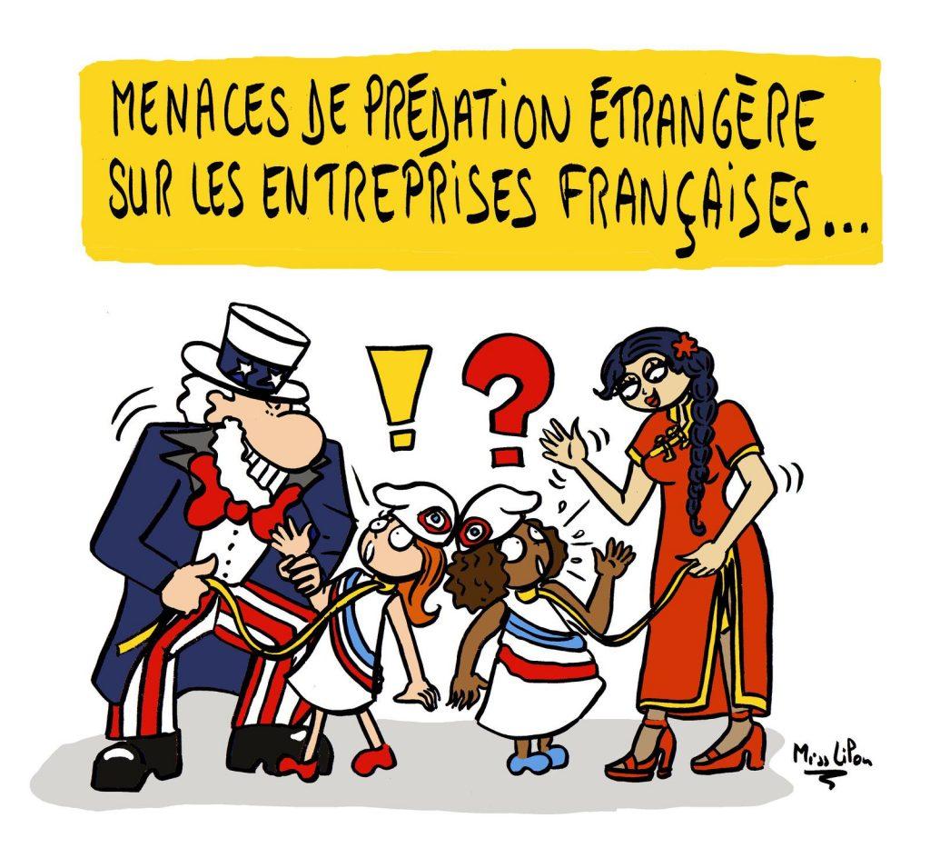 dessin presse humour prédation étrangère image drôle entreprises françaises