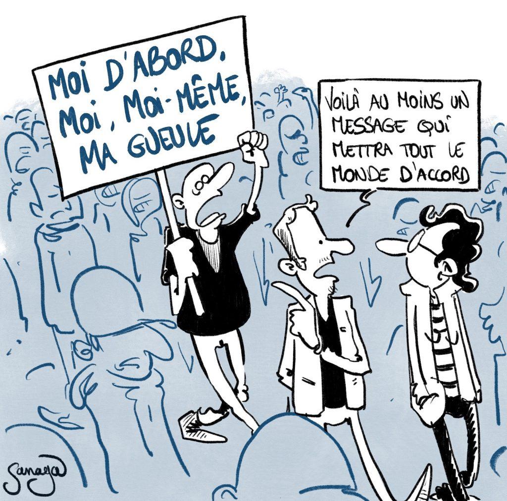 dessin presse humour manifestation pass sanitaire image drôle provax antivax égoïsme égocentrisme