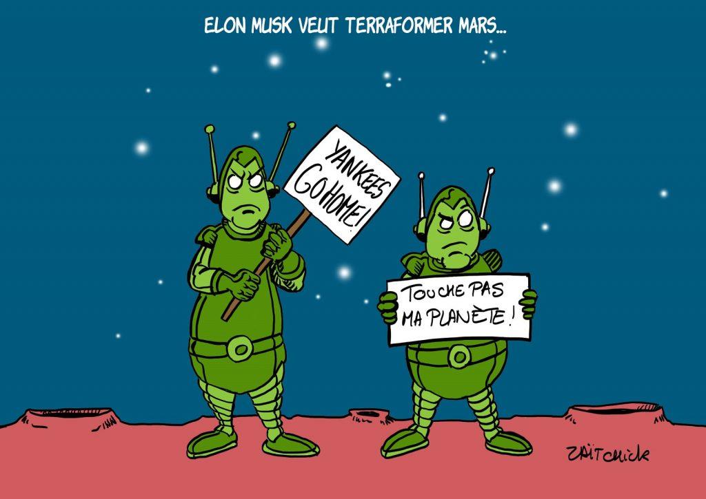 dessins humour Elon Musk image drôle terraformation Mars