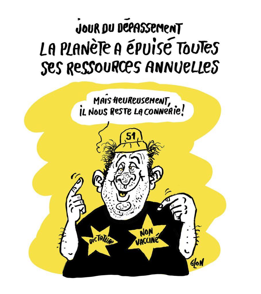 dessin presse humour coronavirus covid 19 antivax image drôle jour du dépassement ressources naturelles