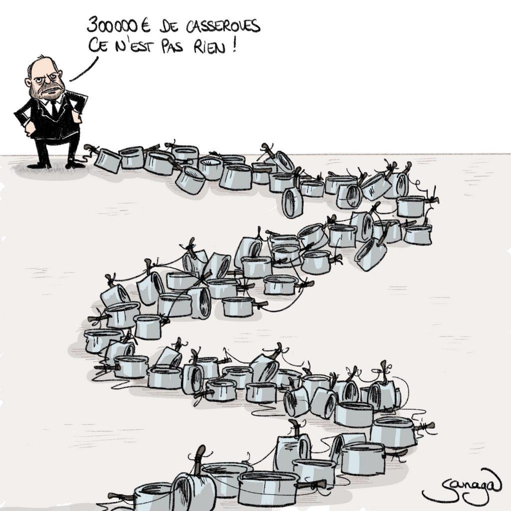 dessin presse humour Éric Dupond-Moretti image drôle mise en examen casseroles
