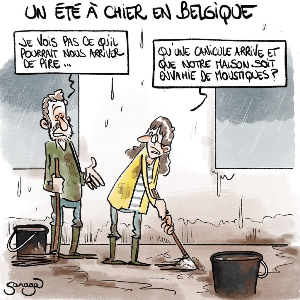 dessin presse humour Belgique été météo image drôle intempéries calamités inondations