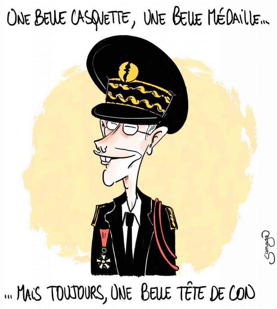 dessin presse humour 14 juillet légion d'honneur image drôle Didier Lallement tête de con