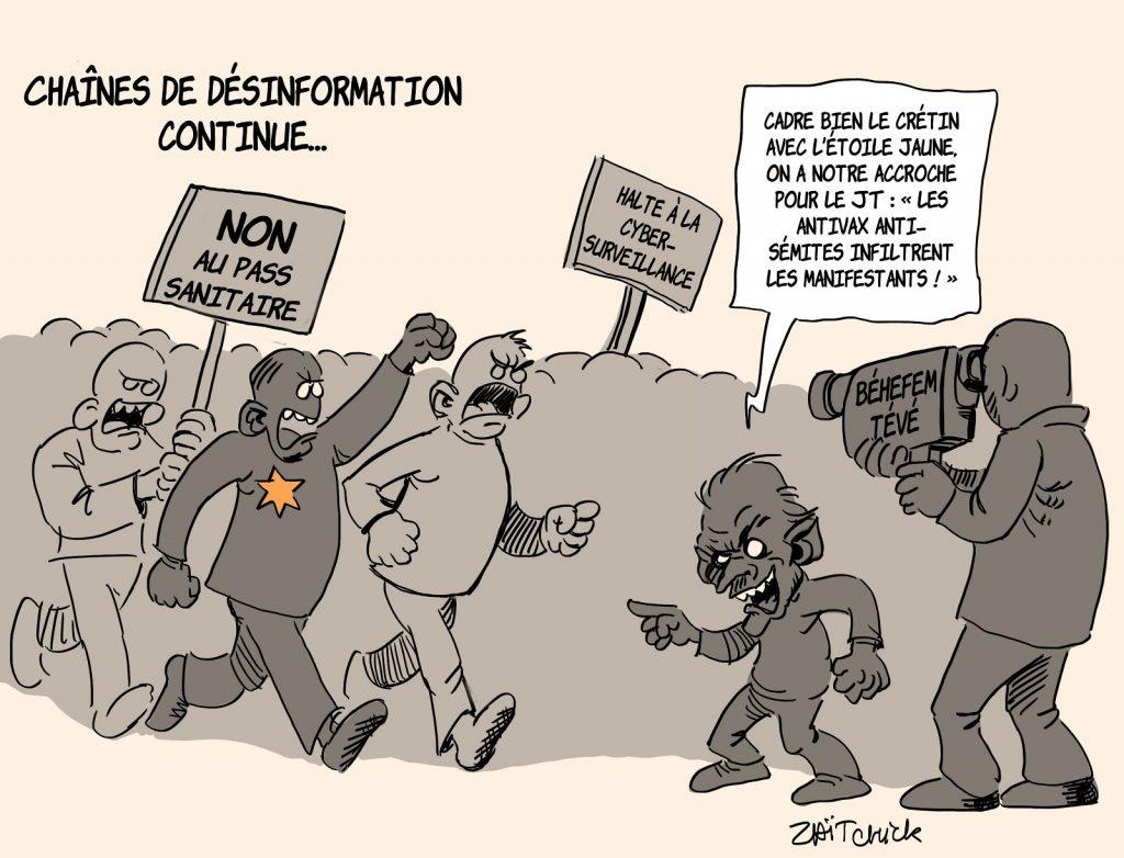 dessins humour coronavirus covid 19 manifestation pass sanitaire image drôle médias désinformation