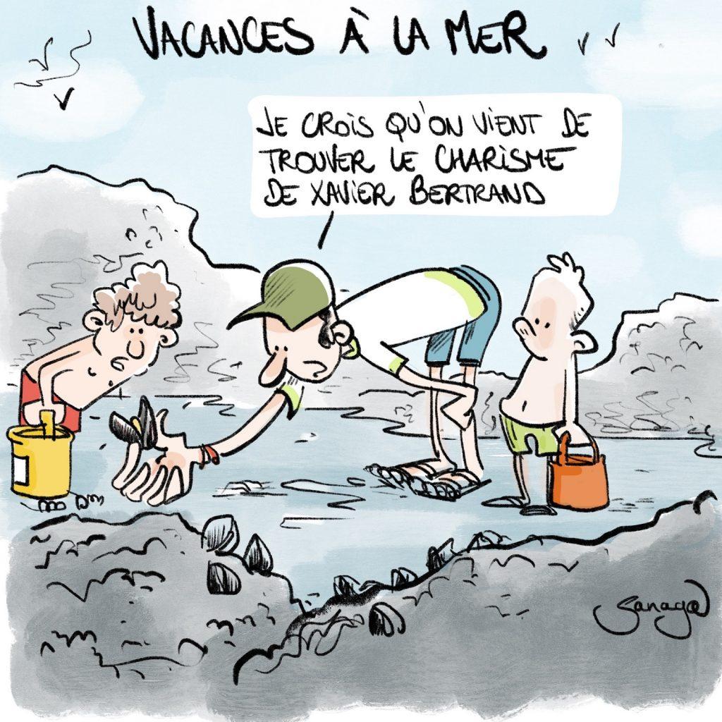 dessin presse humour vacances mer moules image drôle charisme Xavier Bertrand