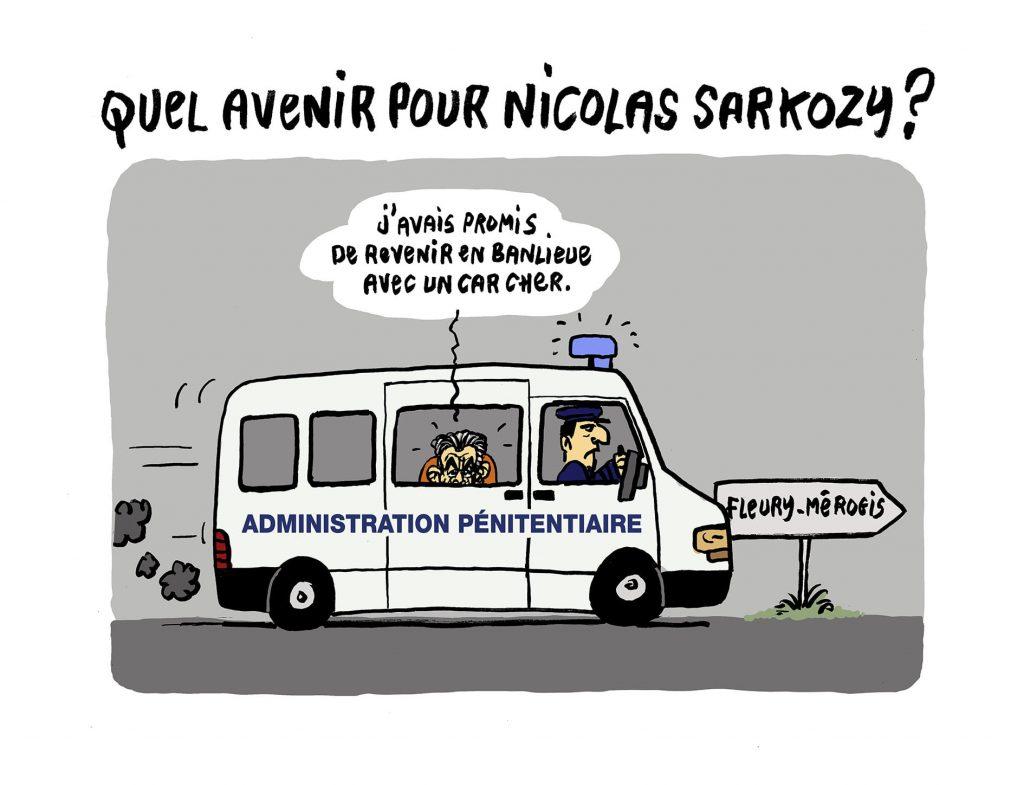 dessin presse humour Nicolas Sarkozy prison image drôle car cher banlieue
