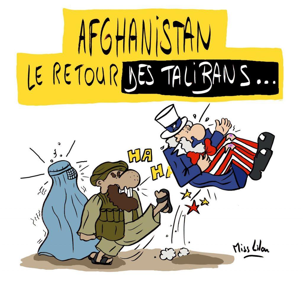dessin presse humour Afghanistan retour Talibans image drôle Oncle Sam États-Unis